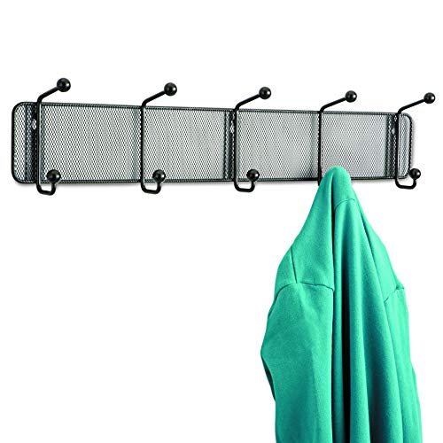 (Safco Products 6403BL Onyx Mesh Wall Rack, 5 Hook, Black)