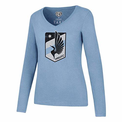 (OTS MLS  Minnesota United Women's  Rival Long sleeve Distressed Tee, Medium, Carolina)