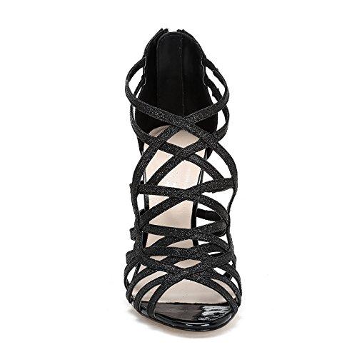 amp;scarpe Scarpe Pailleté Alesya Lanières 10 Croisées By Noir Cm Avec Sandales Talons Tissu En À Hautes 4E0S0x