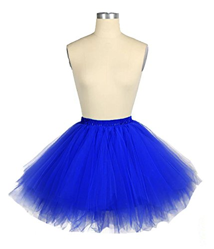 Facent Mujer Niña Cortas Tutu Falda Tul Enaguas para Disfraz Halloween Azul