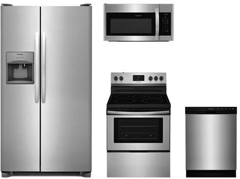 4-Piece Kitchen Package with FFSS2615TS 36 Side by Side Refrigerator, FFEF3052TS 30 Freestanding Electric Range, FFMV1645TS 30 Over the Range Microwave Oven, and FFBD2412SS 24 Built In Full Consol