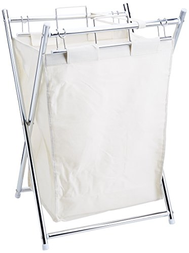 (Organize It All Collapsible Chrome Laundry Hamper with Removable Canvas)
