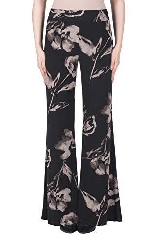 (Joseph Ribkoff Wide Legged Floral Print Pant Style 183559,Black/Taupe,12)