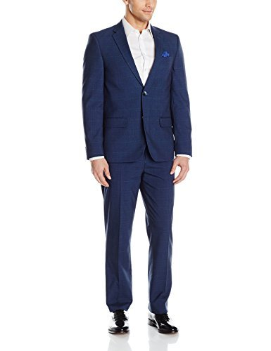 Ben Sherman Mens Two Button Slim Fit Glenplaid Suit