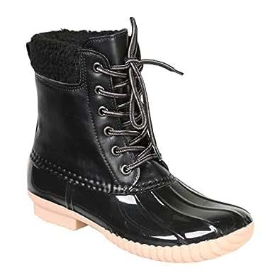 AVANTI Women's Jango Rain Boots - Lace up Fleece Lined Duck Boots Rainboots - Black - Size 6