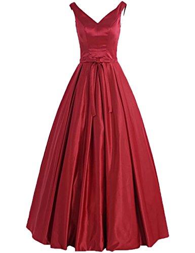 Simples Robes De Bal Sans Manches En Satin Robes Du Soir Ligne Robe Rouge