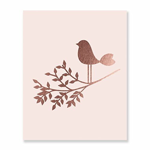 (Bird on a Branch Pink and Rose Gold Foil Art Print Baby Bird Decor Nursery Poster Girl's Room Modern Nature Decor 8 inches x 10 inches A30)