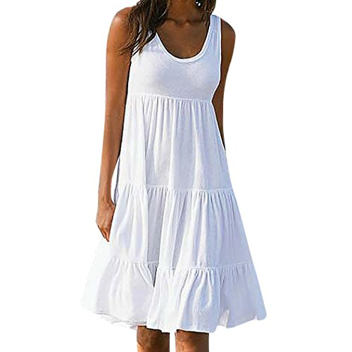 Blanc Robe Femmes Robe Party Holiday Plage Summer Solid de Femme Manches sans HUHU833 UE1qnwY77