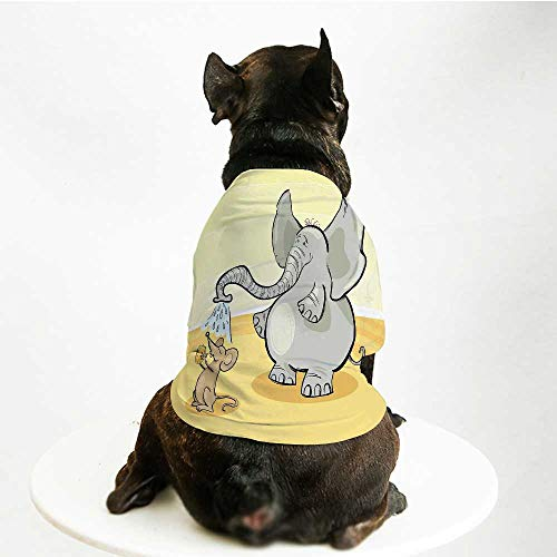 YOLIYANA Elephant Soft Pet Suit,Elephant Bathing Mouse with Trunk in The Desert Cartoon Animal Print Kids Decor Decorative for Cats and Dogs,M