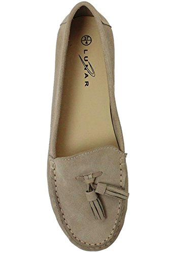 SAPPHIRE BOUTIQUE FLH598 Morris Womens Tassel Classic Suede Leather Moccasin Shoes Loafers Beige uP4QNvylr