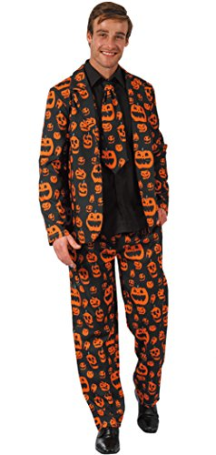 Mens Solid Color Bachelor Prom Party Skull Pumpkin Dollar Pattern Suit Jacket With Tie (Adult Pumpkin Suit And Tie Costumes)