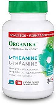 Organika L-Theanine Bonus Size 110 vcaps-Relaxation Promotion, Stress Support, Pure Natural Source