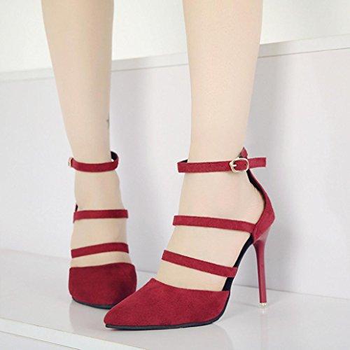 Moda Donna Tacchi Block Plateau E Medio Sandali Tacco Alto Caviglia Scarpe Con Eleganti Beautyjourney Sexy Alti Estivi Rosso 7qw6fa5x
