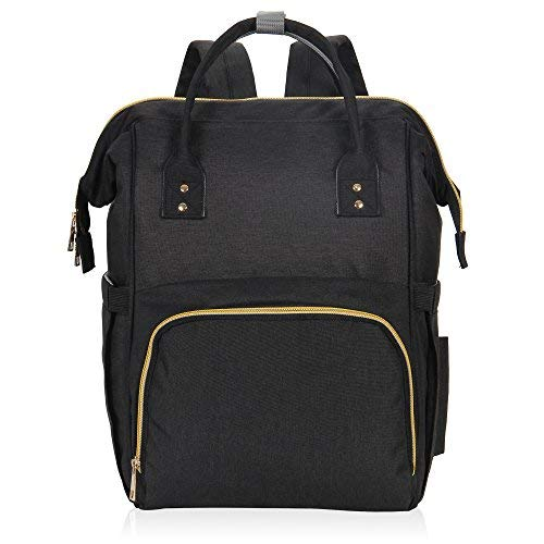 Hynes Eagle Water Resistant Diaper Backpack Multipurpose Baby Travel Bag for Dad or Mom Black U
