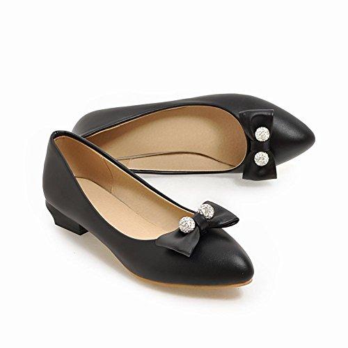 Carolbar Women's Lovely Charm Rhinestones Mid Heel Bow Court Shoes Black Du1Sn