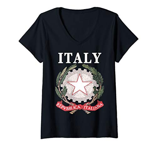 Womens Artistic-style National Emblem Of Italy V-Neck T-Shirt