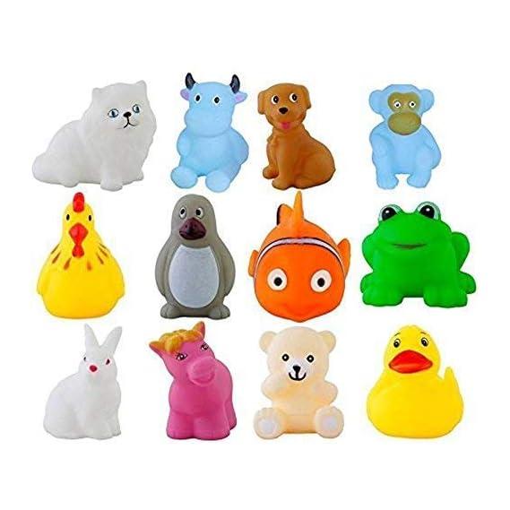 SR Toys 12Pcs Cute Soft Rubber Float Squeeze Sound Baby Bath Play Chuchu Animals Toys