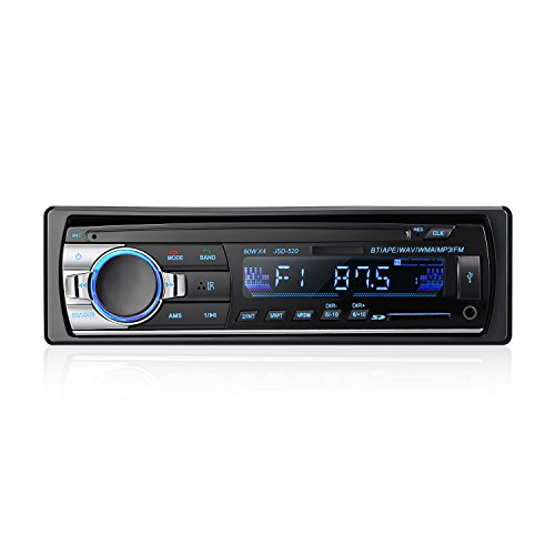 Bluetooth Car Audio Stereo Receiver - LESHP Bluetooth Car Stereo Audio Single DIN In Dash 12V FM Receiver MP3 Radio Player with Remote Control,60Wx4 (In Dash Player Receiver)