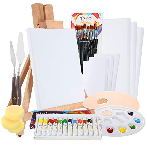 Complete Acrylic Paint Set by Glokers - 36 Piece Professional Painting Supplies Set, Includes Mini Easel, 6 Canvases, Paint Tray, Painting Knives, 10 Paintbrushes and More - Perfect Gift for Artists