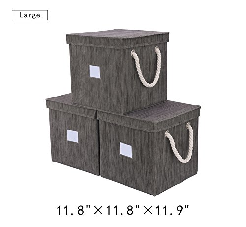 e Storage Cubes With Lids, Stackable Basket Cube Bins With Strong Cotton Rope Handle By, Taupe, Bamboo Style, Large 7 gal, 3-Pack (Strong Rope Handle)