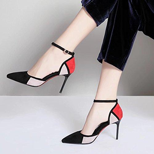 AIYOUMEI Damen Knöchelriemchen Pumps mit 8cm Absatz High Heel Stilettos Elegant High Shoes Schwarz