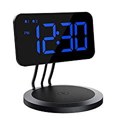 Mpow Digital Alarm Clock with Wireless Charger, 6 Dimmer, Dual Alarms with 3 Ringtones, Bedside Alarm Clocks with Snooze for Bedroom, Office, Kitchen