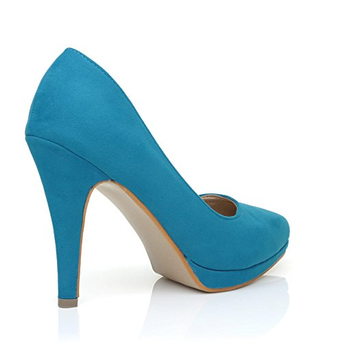 ShuWish en Zapatos Emma de Stiletto Suede Turquoise punta Faux tacón UK Plataforma alto HrwvqOHp
