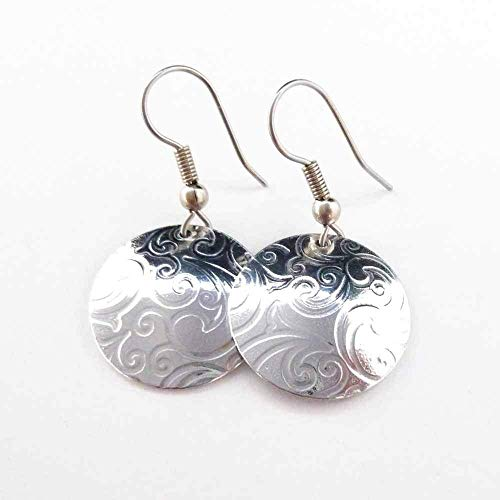 Textured silver-tone Aluminum Earrings with Stainless Steel earwires