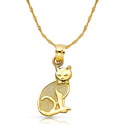 14K Yellow Gold Cat Charm Pendant with 1.8mm Singapore Chain Necklace - 24