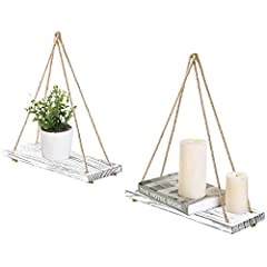 A DIY-inspired, playful set of 2 swing-inspired design and a rustic whitewash finish, these suspended shelves will create the perfect platform for organizing almost any room in your house. Hang them in your living room to display family photo...