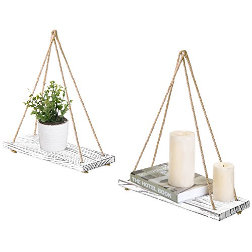 MyGift 17-inch Whitewashed Wood Hanging Rope Swing Shelves, Set of 2 ()