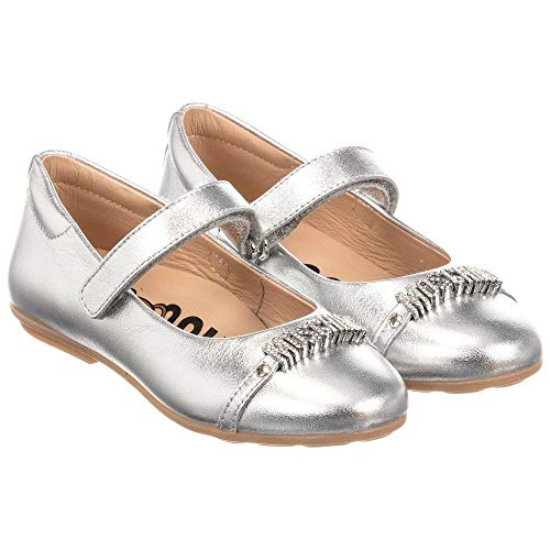 MOSCHINO Kid-Teen Girls Leather Shoes, Silver