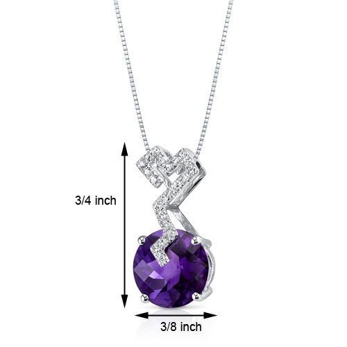 Revoni 14ct or blanc 585/1000 ronde damier Coupe 2.62 carats Améthyste Pendentif diamant