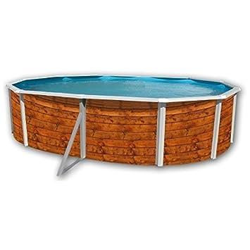Piscina acero ovalada imitacion madera 5,50x3,66 altura 1,20m 8116: Amazon.es: Juguetes y juegos