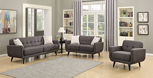 Christies Home Living 3 Piece Crystal Sofa, Love Seat and Arm Chair Fabric Room Set, Charcoal