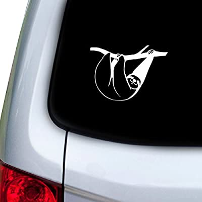 Stickany Car And Auto Decal Series Sloth Hanging Sticker For Windows, Doors, Hoods (White) -