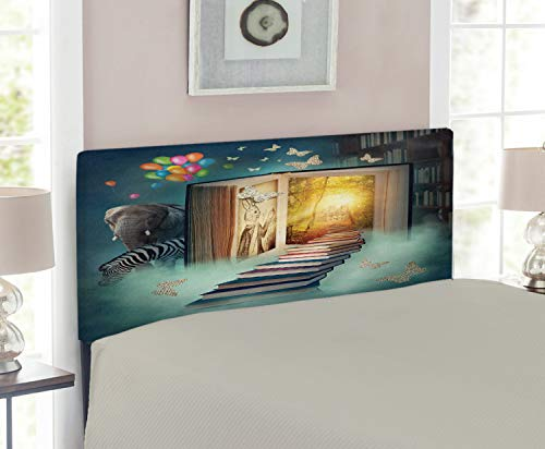 Twin Headboard Room Magic - Ambesonne Fantasy Headboard for Twin Size Bed, Upstairs to Magic Book Forest with Balloon Zebra Elephant Animal Butterflies, Upholstered Decorative Metal Headboard with Memory Foam, Teal and Yellow