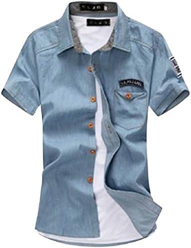 アメカジ カジュアル デニム デザイン ワッペン ワイシャツ 半袖 スリム おしゃれ シャツ キレイめ きれいめ メンズ