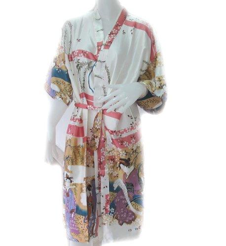100% Thai Silk Robe- Japanese Geisha Design- Pure Ivory Color