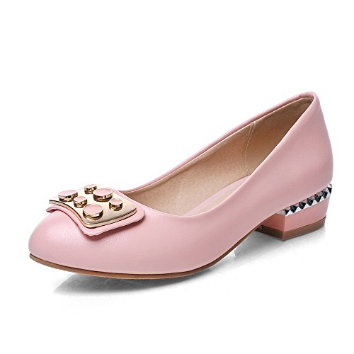 AmoonyFashion Womens Pull On Closed Round Toe Low Heels Pu Solid Pumps-Shoes Pink ph8MSYny7