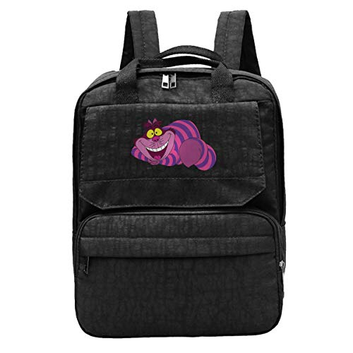 Womens Big Face Cheshire Cat Travel Backpack Adjustable Shoulders Bag Cosmetic Storage Bag