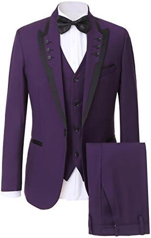 Mens Modern Jacquard 3-Piece Suit One Button Tuxedo Dinner Dress Suit Royal-blue