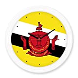 Brunei National Flag Asia Country Symbol Mark Pattern Silent Non-ticking Round Wall Decorative Clock Home Decal