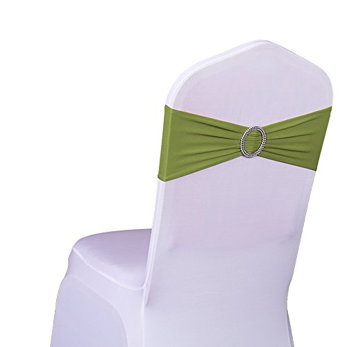 (SINSSOWL Pack of 50PCS Elastic Slider Chair Sashes Spandex Chair Cover Band Bows for Wedding Decoration-Olive Green)
