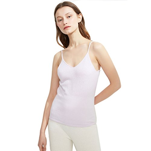 FINCATI White Shirts Cashmere Tops 2018 Spring Summer Spaghetti Strap Soft Skin Friendly Sexy Slim V Neck (White, M) by FINCATI