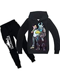 Wazonton Fortnite Games Hoodies Set with Long Pants Unisex Boys Girls Sweatshirts