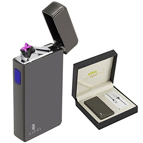 XIFEI USB rechargeable electric plasma arc pipe lighter windproof and butane free also lights/cigarettes/cigars and candles (Spark Butane Lighter)