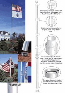 TopFlight Telescoping 20ft Flagpole - (Silver) Flight Poles