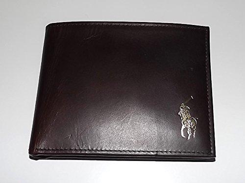 Polo Ralph Lauren Men's Leather Passcase Wallet with Dual ID Wallet Dark Brown