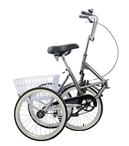 CHENDGE2 Adult Folding Tricycle Bike 3 Wheeler Bicycle Portable Tricycle 20″ Wheels Gray